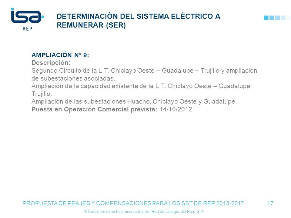 ©Todos los derechos reservados por Red de Energía del Perú S.A. 17 DETERMINACIÓN DEL SISTEMA ELÉCTRICO A REMUNERAR (SER) 17 PROPUESTA DE PEAJES Y COMP