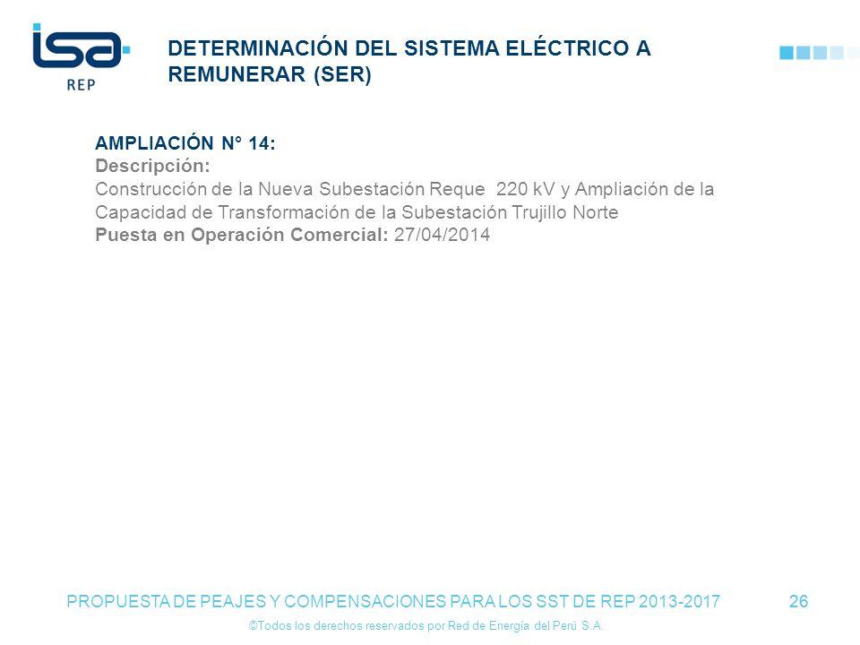 ©Todos los derechos reservados por Red de Energía del Perú S.A. 26 DETERMINACIÓN DEL SISTEMA ELÉCTRICO A REMUNERAR (SER) 26 PROPUESTA DE PEAJES Y COMP
