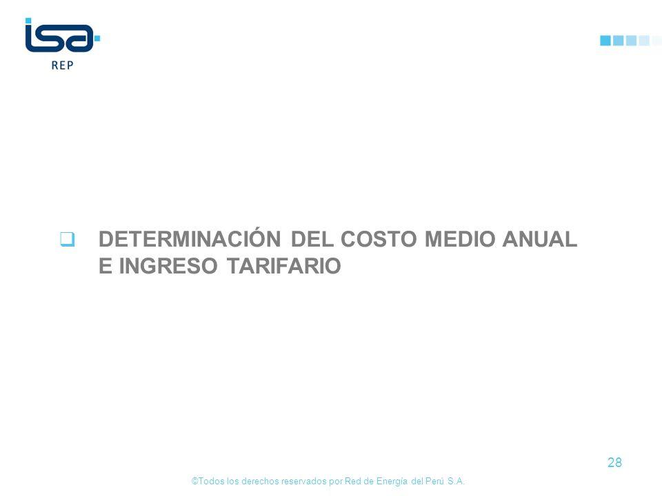 ©Todos los derechos reservados por Red de Energía del Perú S.A. 28 DETERMINACIÓN DEL COSTO MEDIO ANUAL E INGRESO TARIFARIO