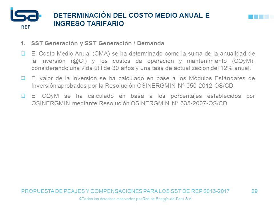 ©Todos los derechos reservados por Red de Energía del Perú S.A. 29 DETERMINACIÓN DEL COSTO MEDIO ANUAL E INGRESO TARIFARIO 1. SST Generación y SST Gen