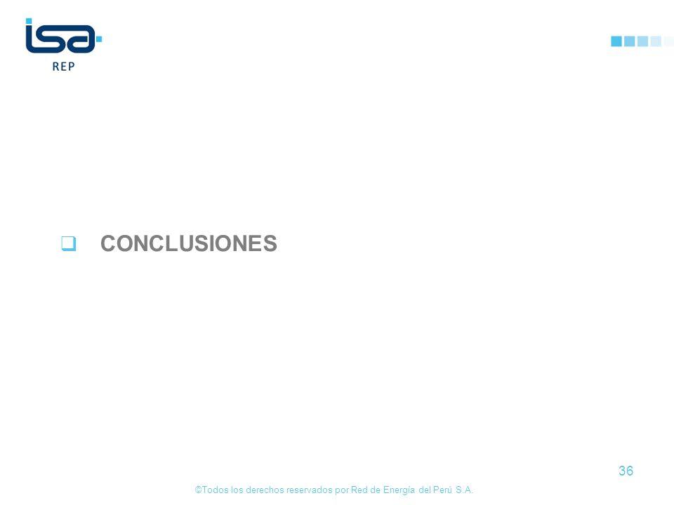 ©Todos los derechos reservados por Red de Energía del Perú S.A. 36 CONCLUSIONES