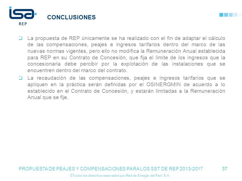 ©Todos los derechos reservados por Red de Energía del Perú S.A. 37 CONCLUSIONES La propuesta de REP únicamente se ha realizado con el fin de adaptar e