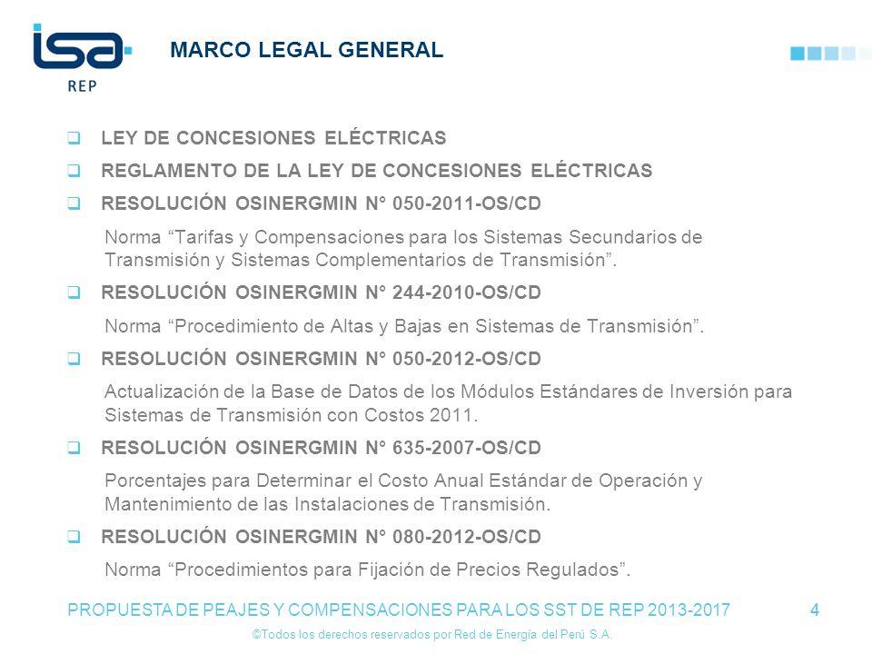 ©Todos los derechos reservados por Red de Energía del Perú S.A. 4 MARCO LEGAL GENERAL LEY DE CONCESIONES ELÉCTRICAS REGLAMENTO DE LA LEY DE CONCESIONE