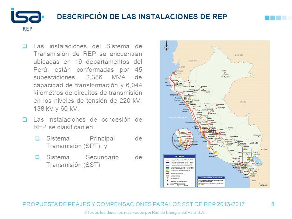 ©Todos los derechos reservados por Red de Energía del Perú S.A. 8 DESCRIPCIÓN DE LAS INSTALACIONES DE REP Las instalaciones del Sistema de Transmisión
