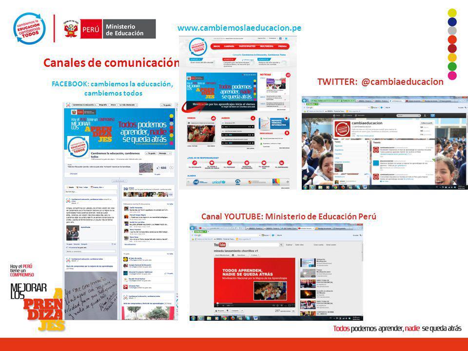 Canales de comunicación www.cambiemoslaeducacion.pe Canal YOUTUBE: Ministerio de Educación Perú TWITTER: @cambiaeducacion FACEBOOK: cambiemos la educa