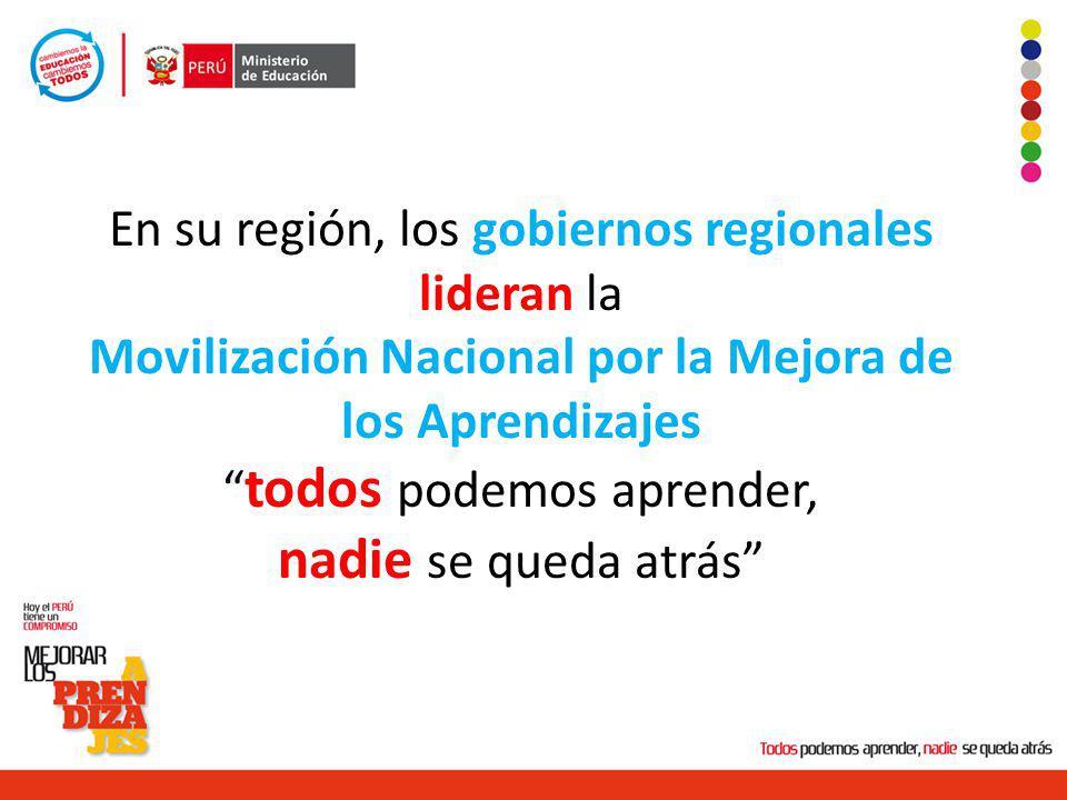 En su región, los gobiernos regionales lideran la Movilización Nacional por la Mejora de los Aprendizajes todos podemos aprender, nadie se queda atrás