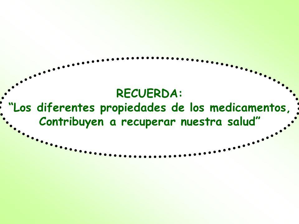 RECUERDA: Los diferentes propiedades de los medicamentos, Contribuyen a recuperar nuestra salud