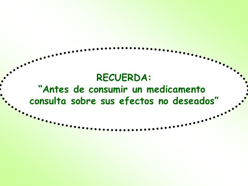RECUERDA: Antes de consumir un medicamento consulta sobre sus efectos no deseados