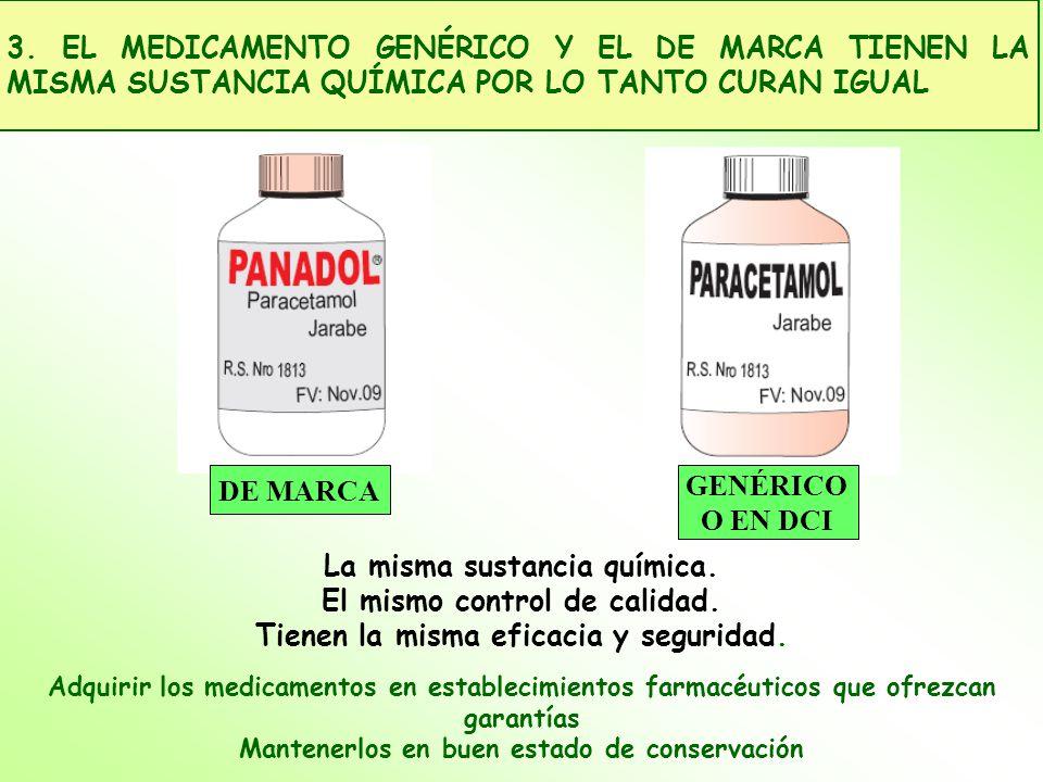 La misma sustancia química. El mismo control de calidad. Tienen la misma eficacia y seguridad. Adquirir los medicamentos en establecimientos farmacéut