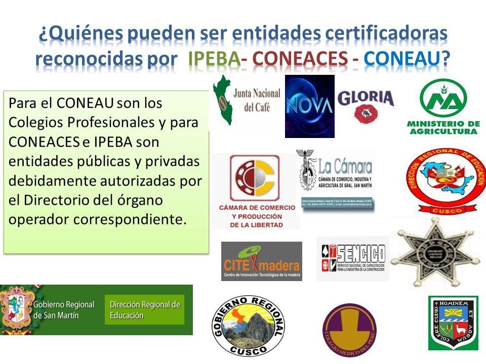 Para el CONEAU son los Colegios Profesionales y para CONEACES e IPEBA son entidades públicas y privadas debidamente autorizadas por el Directorio del órgano operador correspondiente.