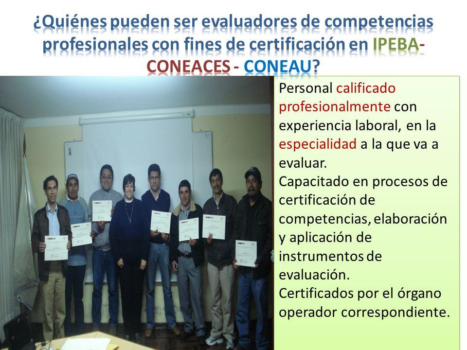 Personal calificado profesionalmente con experiencia laboral, en la especialidad a la que va a evaluar.