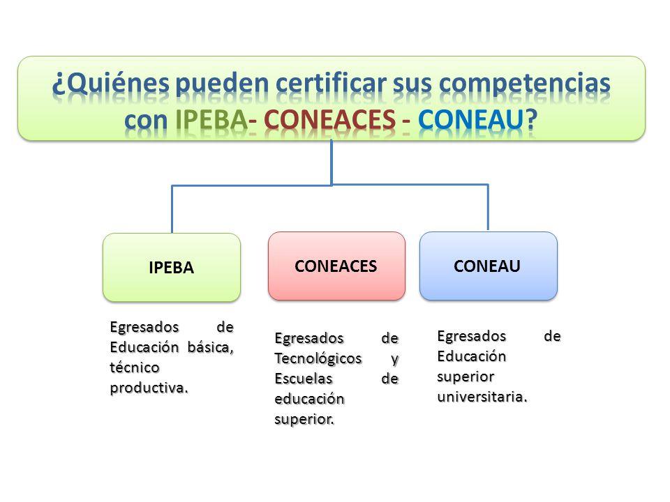 IPEBA CONEAU Egresados de Educación básica, técnico productiva.