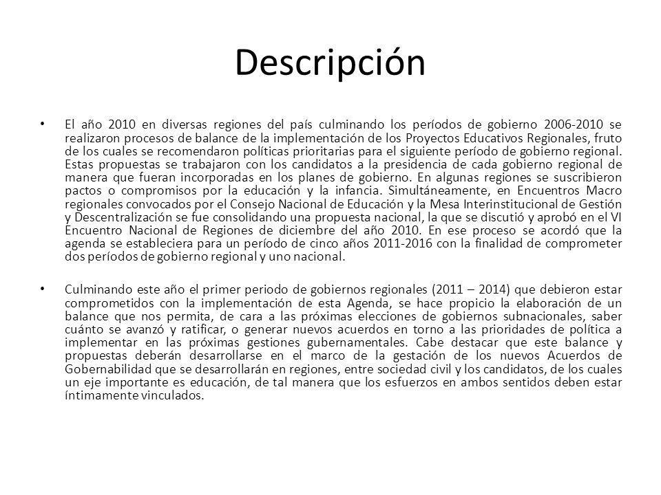 Descripción El año 2010 en diversas regiones del país culminando los períodos de gobierno 2006-2010 se realizaron procesos de balance de la implementación de los Proyectos Educativos Regionales, fruto de los cuales se recomendaron políticas prioritarias para el siguiente período de gobierno regional.