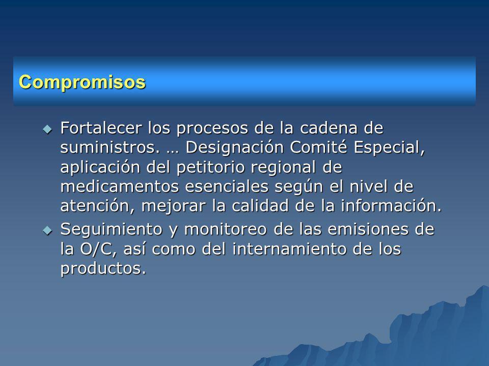 Compromisos Fortalecer los procesos de la cadena de suministros.