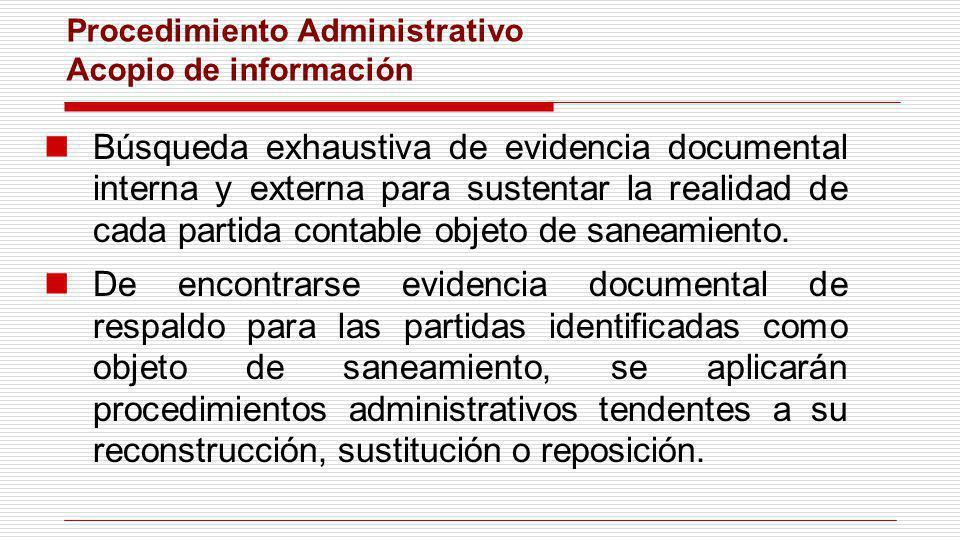 Procedimiento Administrativo Acopio de información Búsqueda exhaustiva de evidencia documental interna y externa para sustentar la realidad de cada pa