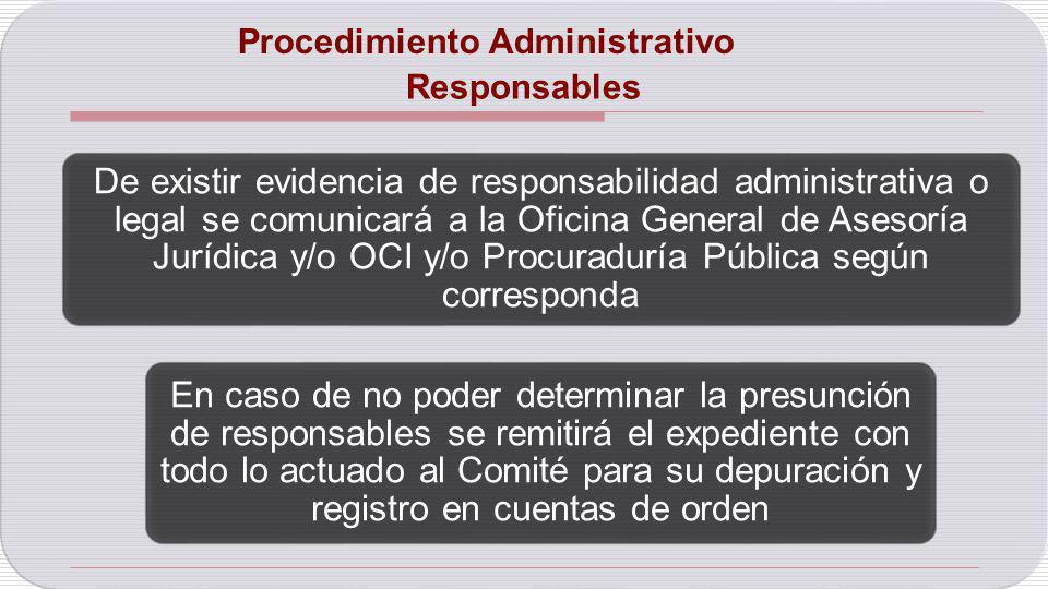 Responsables De existir evidencia de responsabilidad administrativa o legal se comunicará a la Oficina General de Asesoría Jurídica y/o OCI y/o Procur