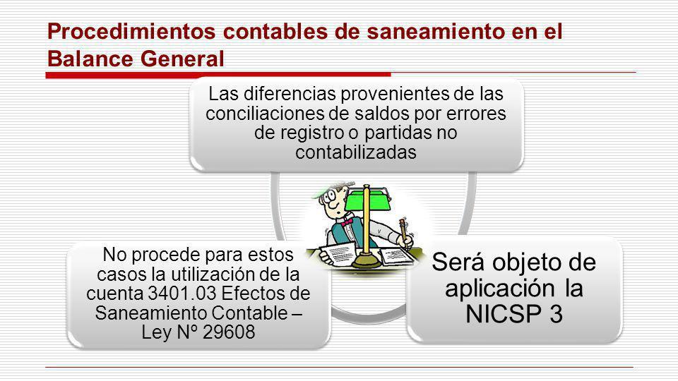 Procedimientos contables de saneamiento en el Balance General Las diferencias provenientes de las conciliaciones de saldos por errores de registro o p