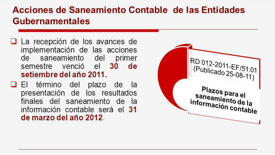 Acciones de Saneamiento Contable de las Entidades Gubernamentales La recepción de los avances de implementación de las acciones de saneamiento del pri