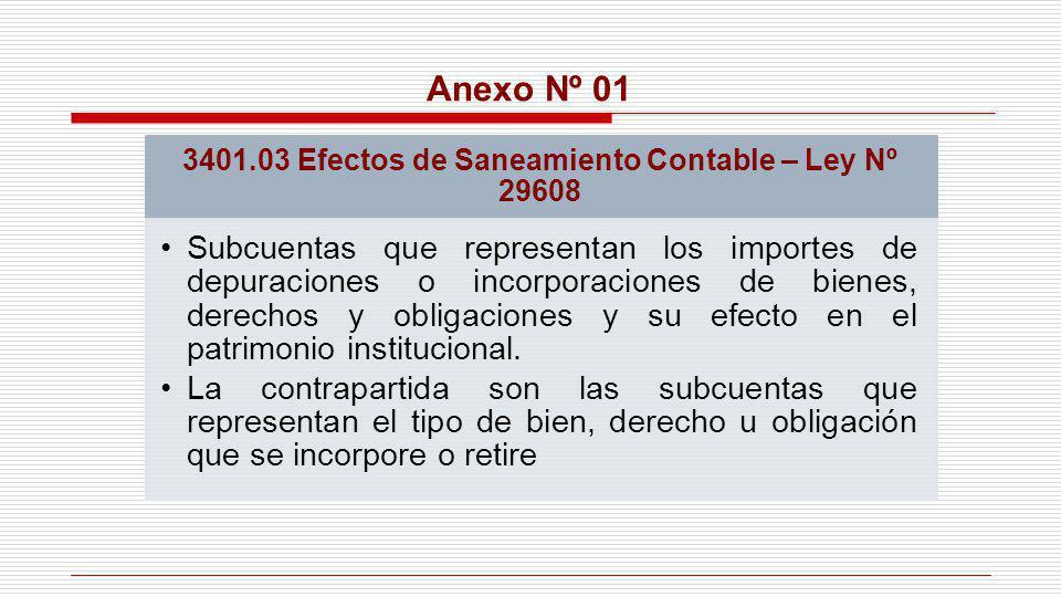 Anexo Nº 01 3401.03 Efectos de Saneamiento Contable – Ley Nº 29608 Subcuentas que representan los importes de depuraciones o incorporaciones de bienes