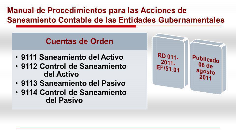 Manual de Procedimientos para las Acciones de Saneamiento Contable de las Entidades Gubernamentales Cuentas de Orden 9111 Saneamiento del Activo 9112