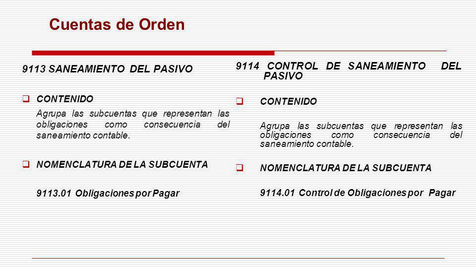 Cuentas de Orden 9113 SANEAMIENTO DEL PASIVO CONTENIDO Agrupa las subcuentas que representan las obligaciones como consecuencia del saneamiento contab
