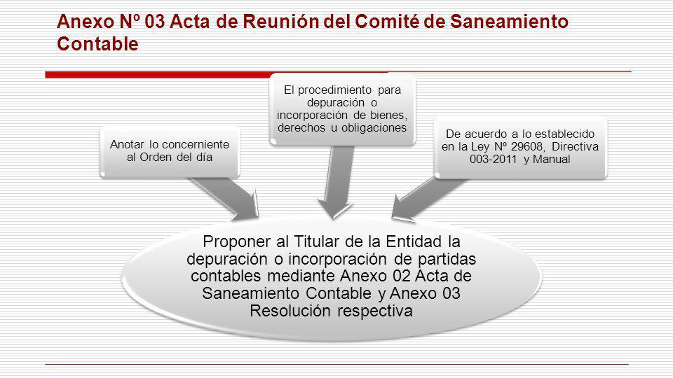Anexo Nº 03 Acta de Reunión del Comité de Saneamiento Contable Proponer al Titular de la Entidad la depuración o incorporación de partidas contables m