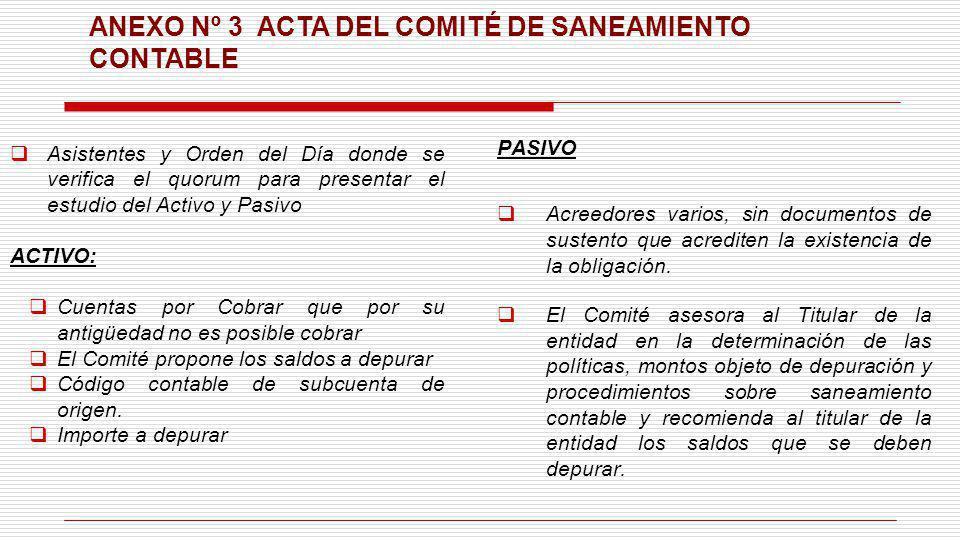 ANEXO Nº 3 ACTA DEL COMITÉ DE SANEAMIENTO CONTABLE Asistentes y Orden del Día donde se verifica el quorum para presentar el estudio del Activo y Pasiv