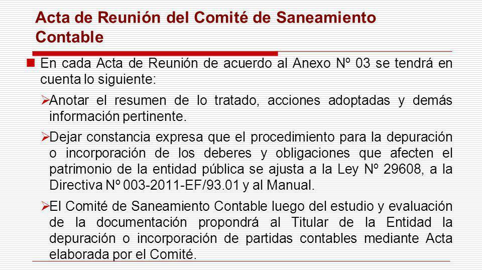 Acta de Reunión del Comité de Saneamiento Contable En cada Acta de Reunión de acuerdo al Anexo Nº 03 se tendrá en cuenta lo siguiente: Anotar el resum