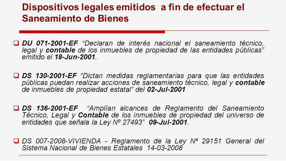 DU 071-2001-EF Declaran de interés nacional el saneamiento técnico, legal y contable de los inmuebles de propiedad de las entidades públicas emitido e