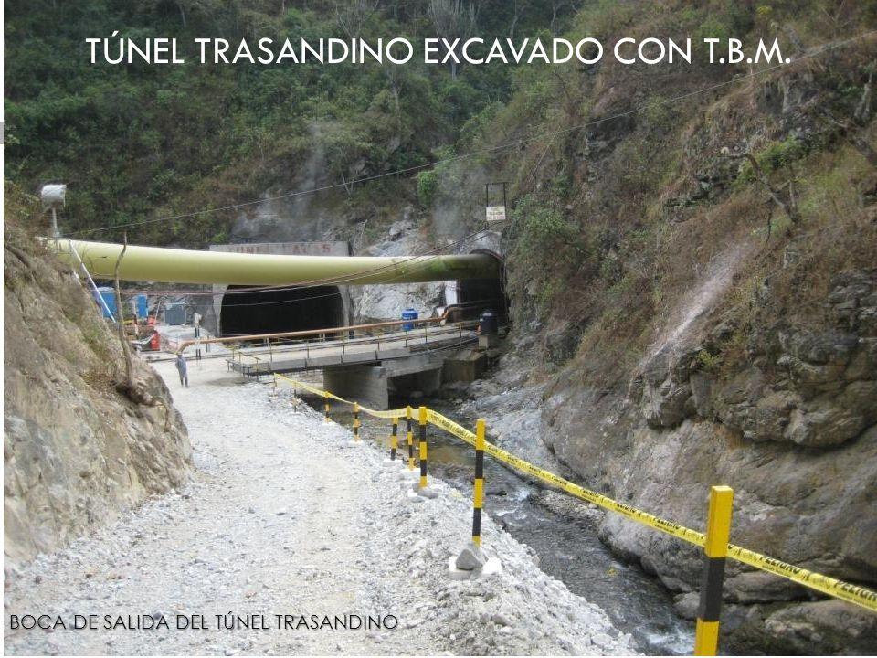 TÚNEL TRASANDINO EXCAVADO CON T.B.M. BOCA DE SALIDA DEL TÚNEL TRASANDINO