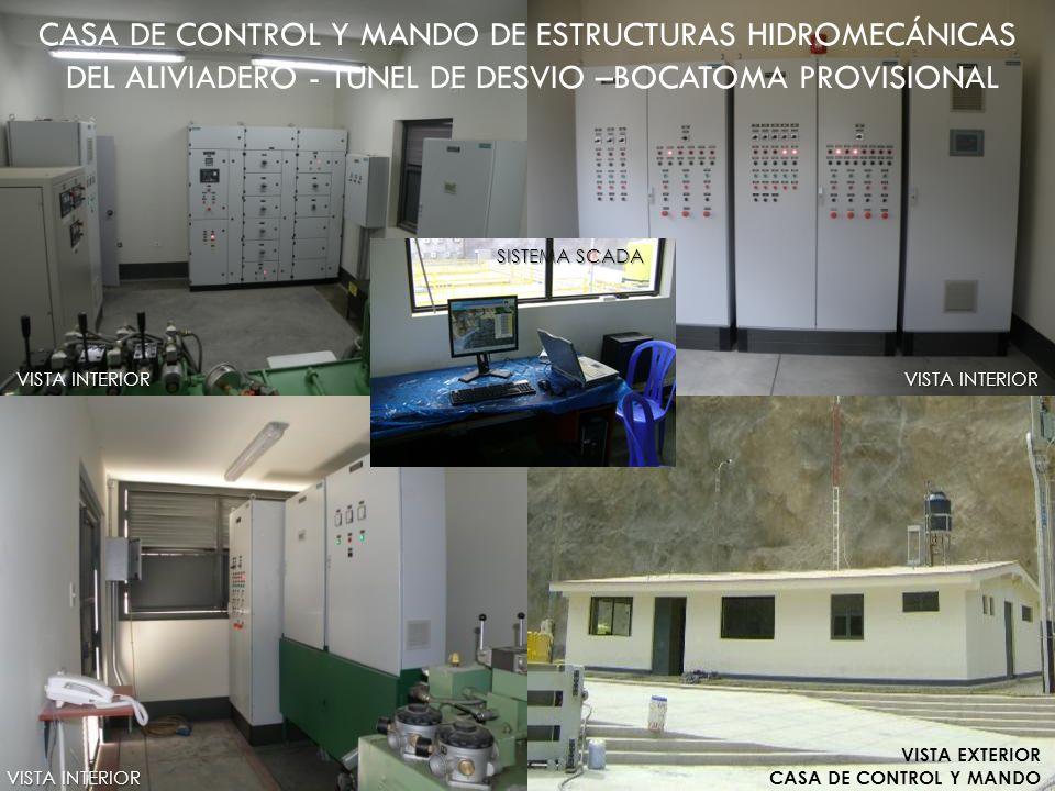 CASA DE CONTROL Y MANDO DE ESTRUCTURAS HIDROMECÁNICAS DEL ALIVIADERO - TUNEL DE DESVIO –BOCATOMA PROVISIONAL VISTA INTERIOR VISTA EXTERIOR CASA DE CON
