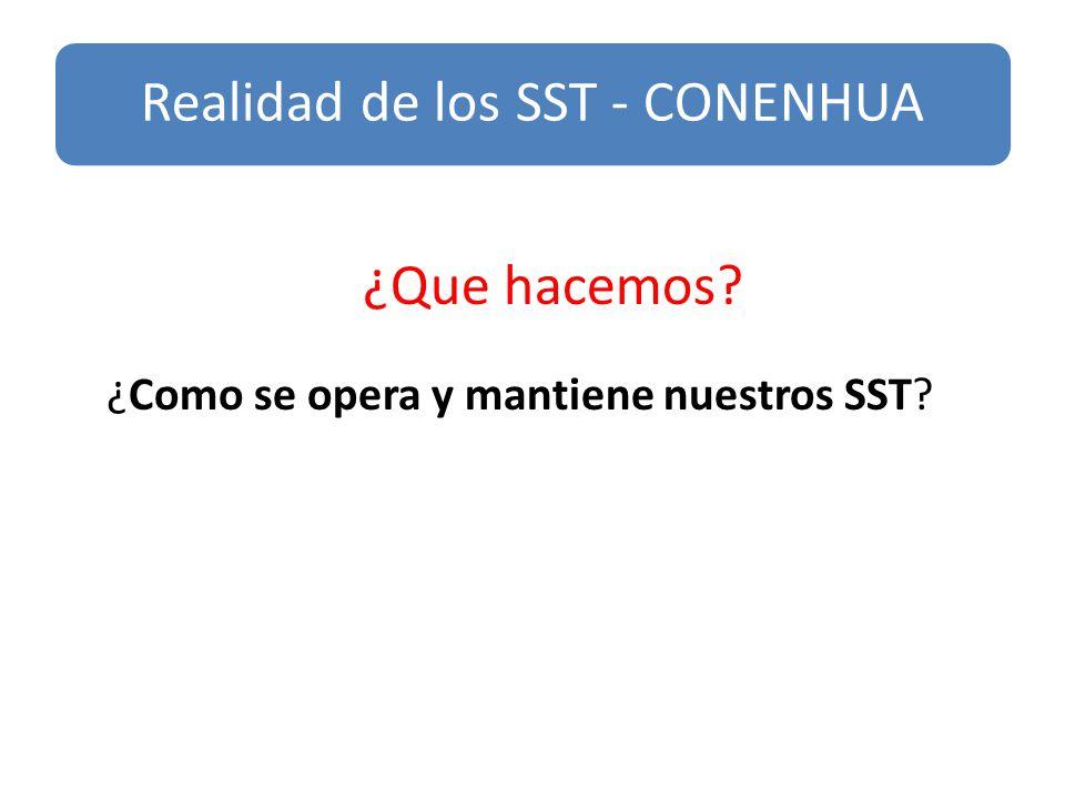 s ¿Que hacemos? ¿Como se opera y mantiene nuestros SST? Realidad de los SST - CONENHUA