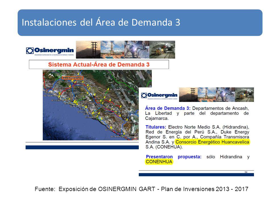 Instalaciones del Área de Demanda 3 Fuente: Exposición de OSINERGMIN GART - Plan de Inversiones 2013 - 2017