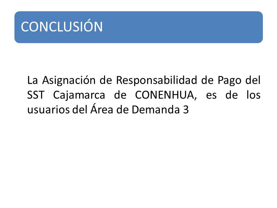 La Asignación de Responsabilidad de Pago del SST Cajamarca de CONENHUA, es de los usuarios del Área de Demanda 3 CONCLUSIÓN