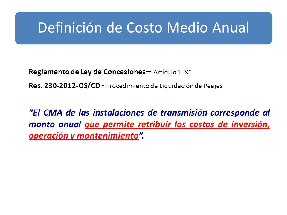 Reglamento de Ley de Concesiones – Artículo 139° Res. 230-2012-OS/CD - Procedimiento de Liquidación de Peajes El CMA de las instalaciones de transmisi