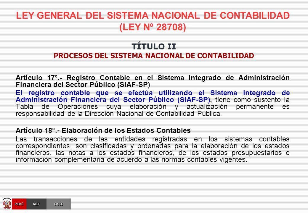 LEY GENERAL DEL SISTEMA NACIONAL DE CONTABILIDAD (LEY Nº 28708) Artículo 17°.- Registro Contable en el Sistema Integrado de Administración Financiera