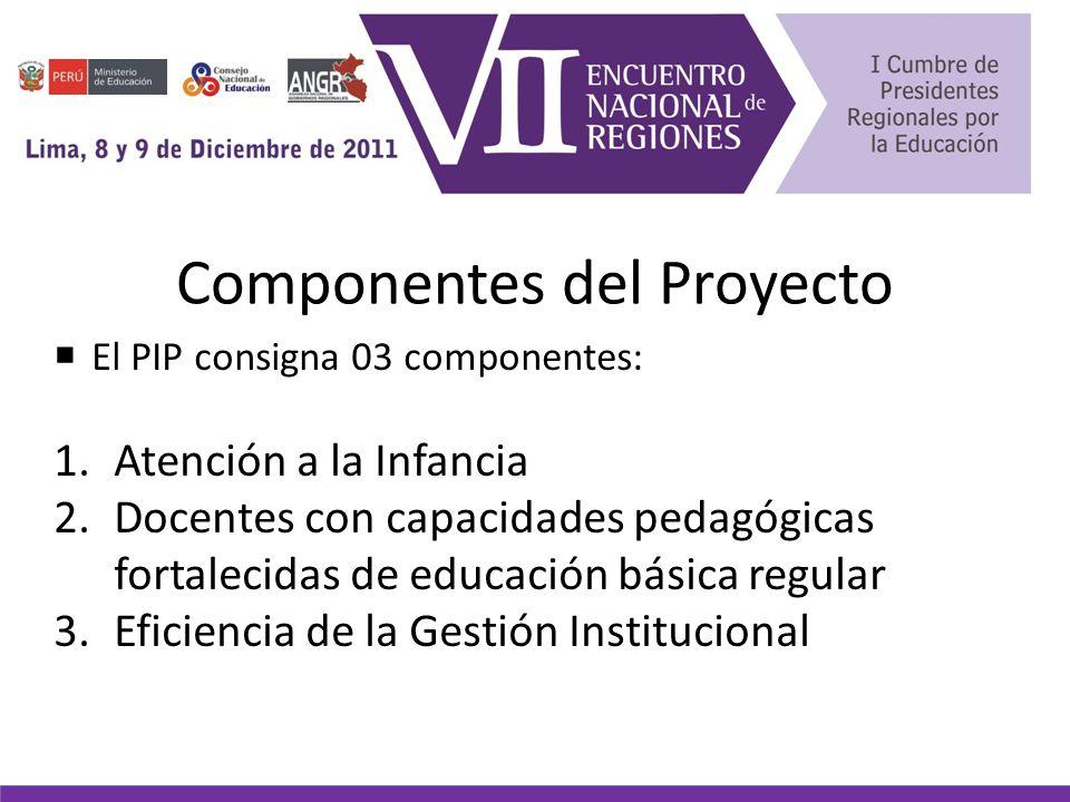 Componentes del Proyecto El PIP consigna 03 componentes: 1.Atención a la Infancia 2.Docentes con capacidades pedagógicas fortalecidas de educación básica regular 3.Eficiencia de la Gestión Institucional