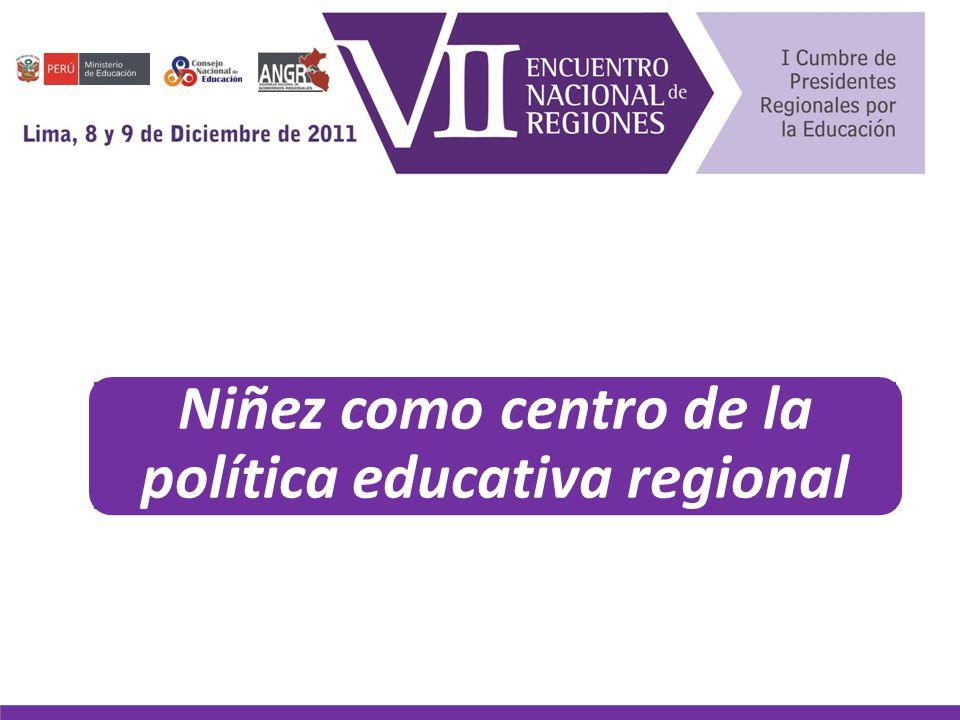 Niñez como centro de la política educativa regional