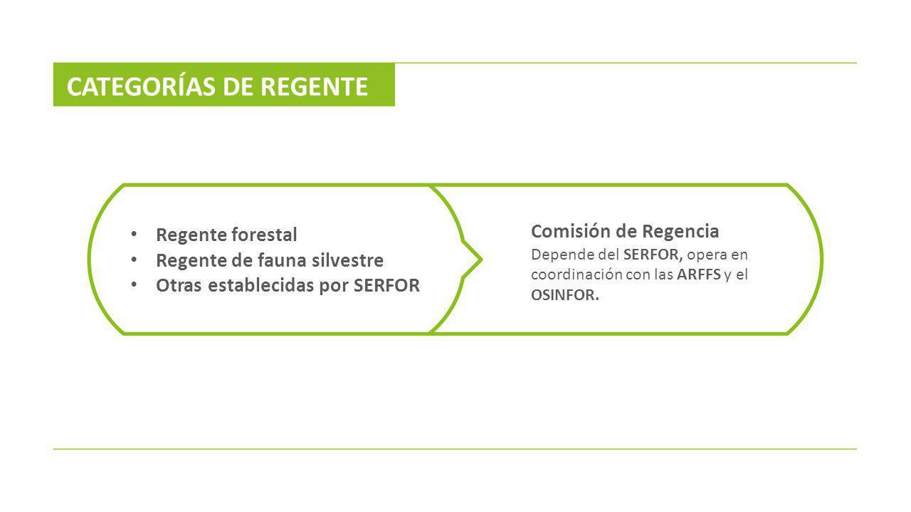 CATEGORÍAS DE REGENTE Regente forestal Regente de fauna silvestre Otras establecidas por SERFOR Comisión de Regencia Depende del SERFOR, opera en coor
