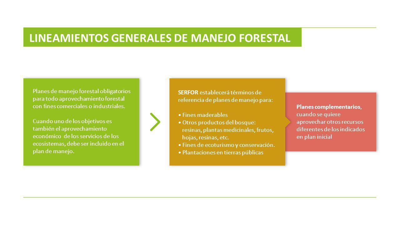 LINEAMIENTOS GENERALES DE MANEJO FORESTAL Planes de manejo forestal obligatorios para todo aprovechamiento forestal con fines comerciales o industrial