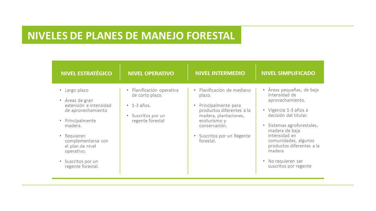 Largo plazo Áreas de gran extensión e intensidad de aprovechamiento Principalmente madera. Requieren complementarse con el plan de nivel operativo. Su