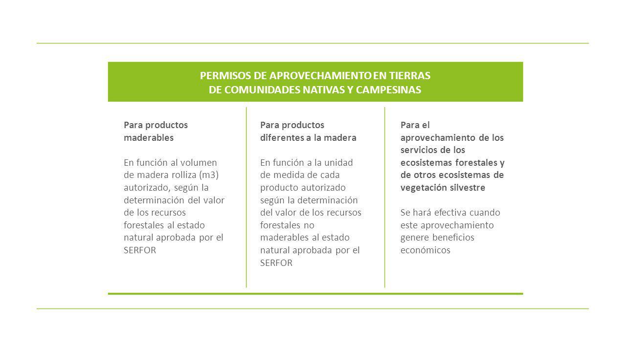 Para productos maderables En función al volumen de madera rolliza (m3) autorizado, según la determinación del valor de los recursos forestales al esta