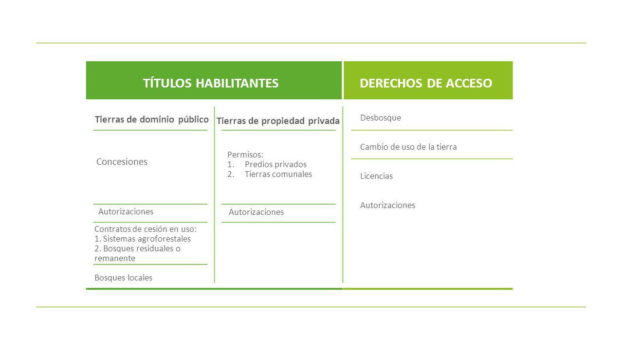DERECHOS DE LOS TITULARES DE LOS TÍTULOS HABILITANTES RESPECTO A LOS RECURSOS RESPECTO A LOS BENEFICIOS RESPECTO A ÁREA RESPECTO DE LA AUTORIDAD FORESTAL Aprovechar los recursos forestales y de fauna silvestre Venta de los productos forestales en pie Recibir los beneficios económicos provenientes de los servicios de los ecosistemas forestales y otros ecosistemas de vegetación silvestre Acceder a los incentivos para la promoción de la actividad forestal y de fauna silvestre Inscripción de los títulos en el catastro nacional forestal Constituir hipotecas o garantías reales Transferir por sucesión los contratos de cesión en uso y los permisos en predios privados Acreditación y reconocimiento, como custodios forestales y de fauna silvestre Atención oportuna por parte de la autoridad competente