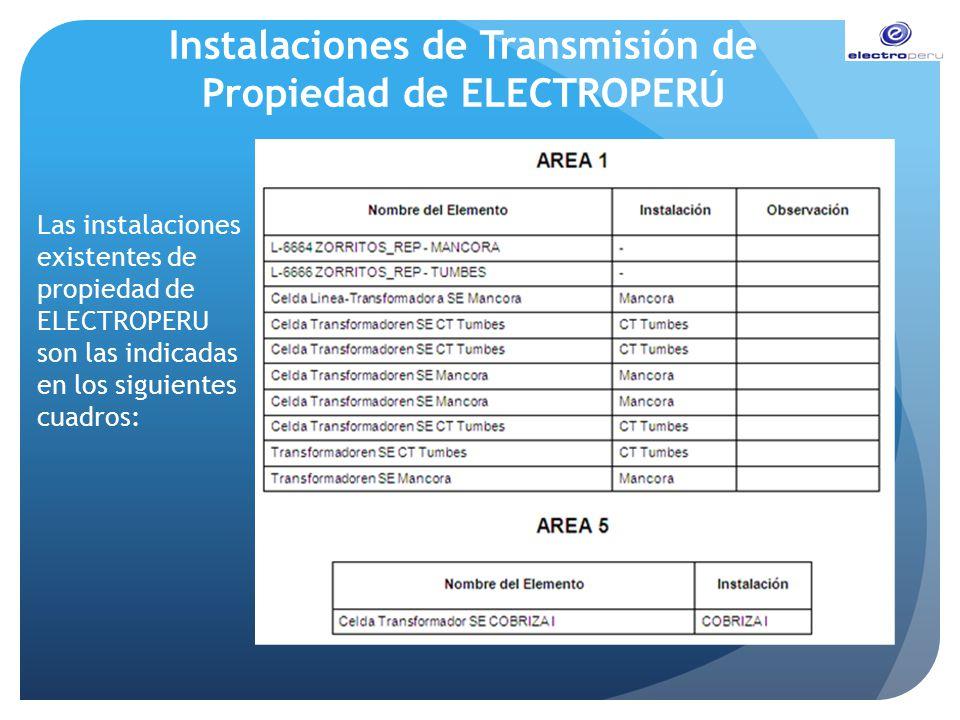 Instalaciones de Transmisión de Propiedad de ELECTROPERÚ Las instalaciones existentes de propiedad de ELECTROPERU son las indicadas en los siguientes