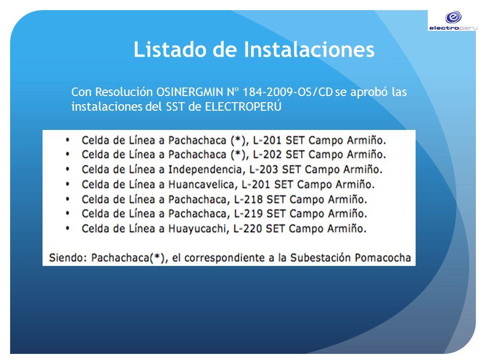 Listado de Instalaciones Con Resolución OSINERGMIN Nº 184-2009-OS/CD se aprobó las instalaciones del SST de ELECTROPERÚ