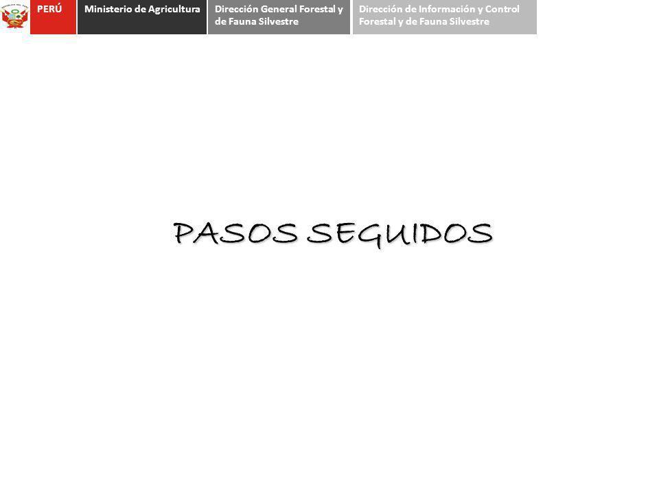 PASOS SEGUIDOS PERÚMinisterio de AgriculturaDirección General Forestal y de Fauna Silvestre Dirección de Información y Control Forestal y de Fauna Sil