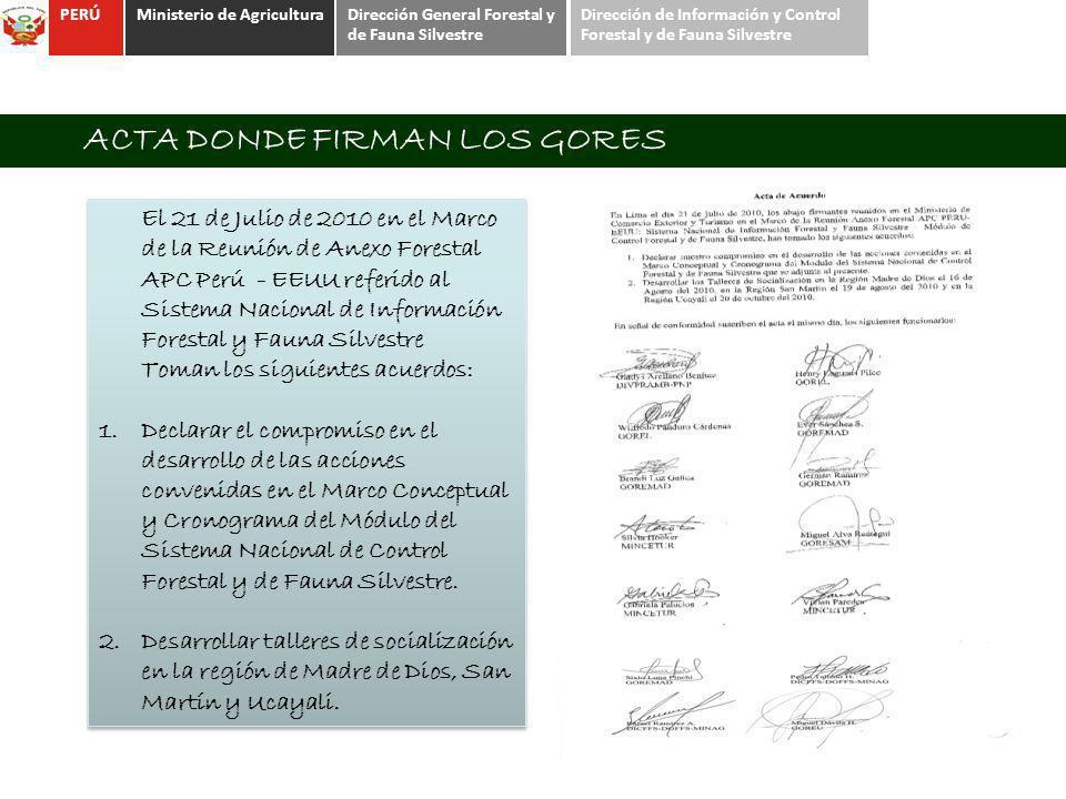 PERÚMinisterio de AgriculturaDirección General Forestal y de Fauna Silvestre Dirección de Información y Control Forestal y de Fauna Silvestre ACTA DON