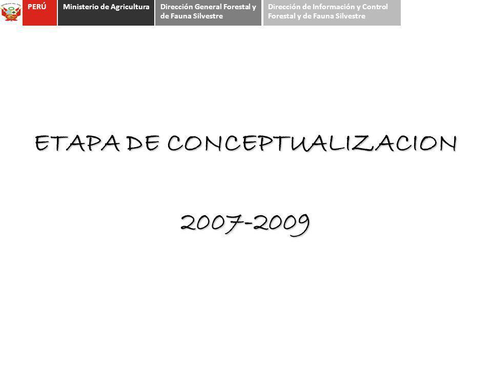 ETAPA DE CONCEPTUALIZACION 2007-2009 PERÚMinisterio de AgriculturaDirección General Forestal y de Fauna Silvestre Dirección de Información y Control F