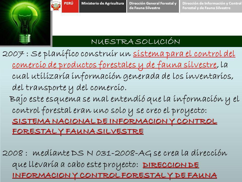 NUESTRA SOLUCIÓN 2007 : Se planifico construir un sistema para el control del comercio de productos forestales y de fauna silvestre, la cual utilizarí