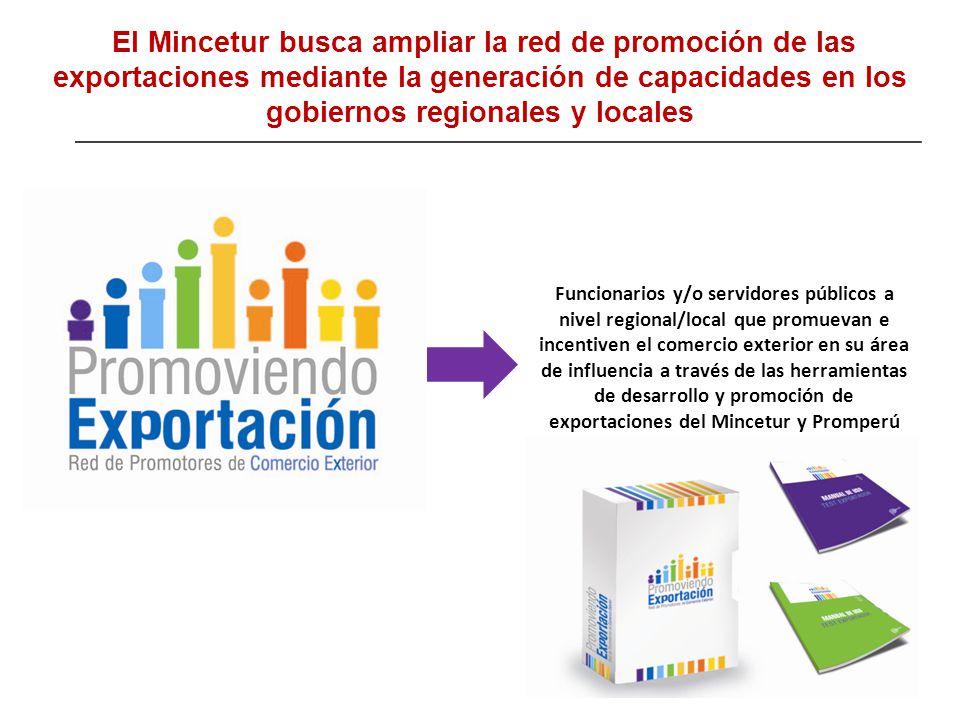 El Mincetur busca ampliar la red de promoción de las exportaciones mediante la generación de capacidades en los gobiernos regionales y locales Funcion